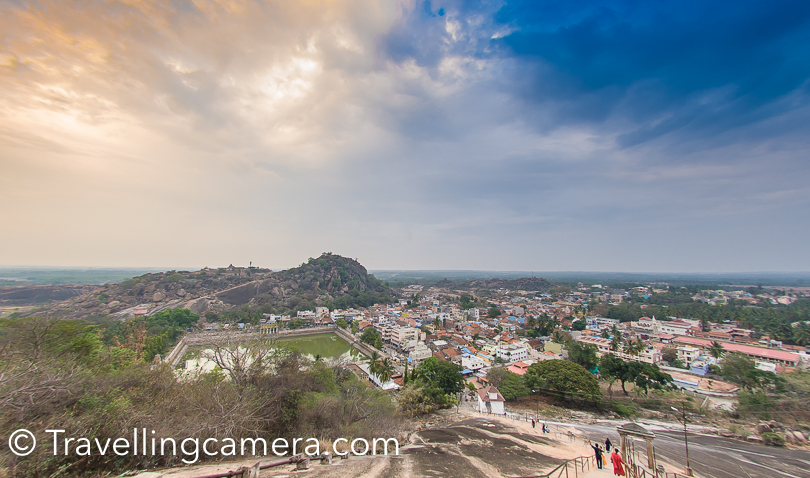 Just across the Shravanbelagola, one can see Chadragiri hill temple complex. It's on the other side of white pond. The Pond you see in above photograph is the place from where one needs to climb up for the main Jain temple.