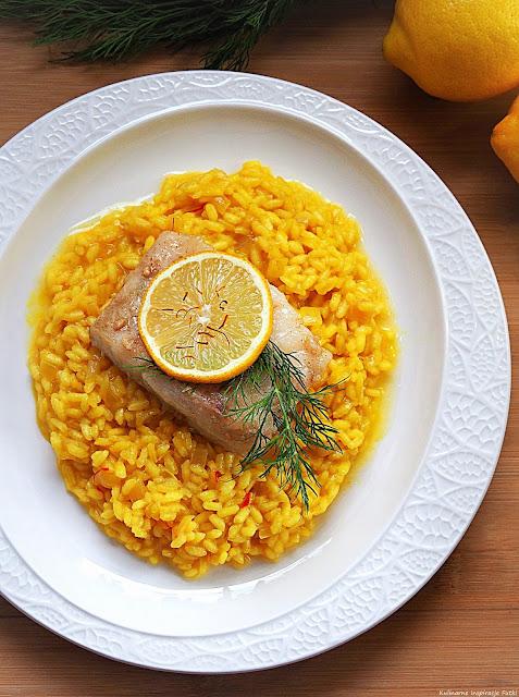 dorsz na cytrynowym risotto