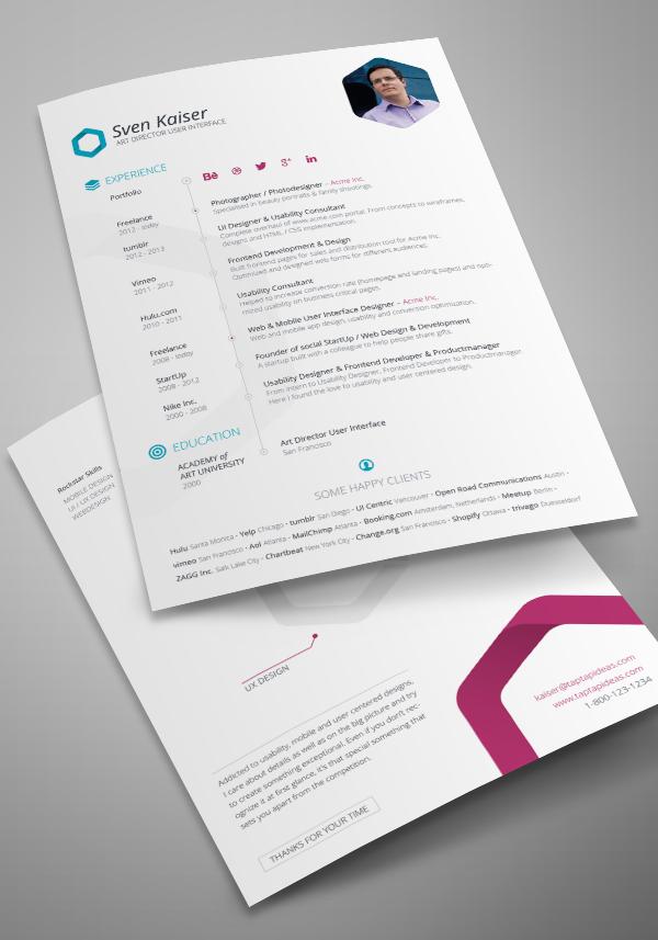 Indesign Resume Template CV Design