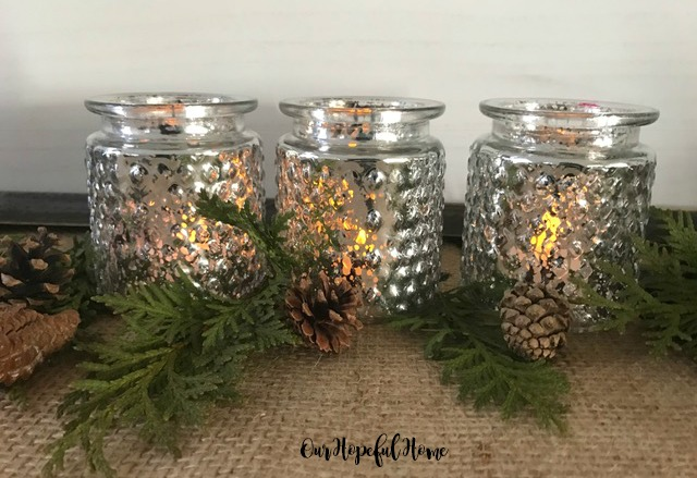 hobnail mercury glass tea light holiday decor
