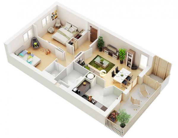 61 Gambar 3D Denah - Sketsa Rumah Minimalis Eksklusif