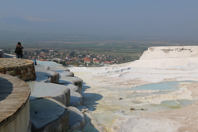 At last, we arrive at the thermal pool which also known as Cleopatras pools after 15 minutes walk from the entrance at HIerapolis in Pamukkale, Turkey
