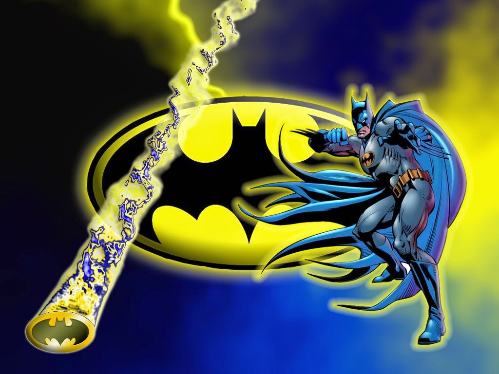 Batman in Blue and Yellow, Free Printable Invitations, Labels or Cards.