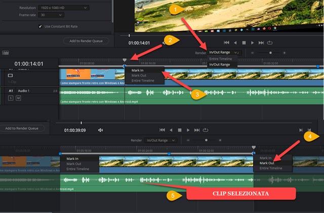 selezione delle clip con i marker