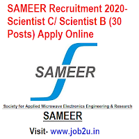 SAMEER Recruitment 2020, Scientist C, Scientist B