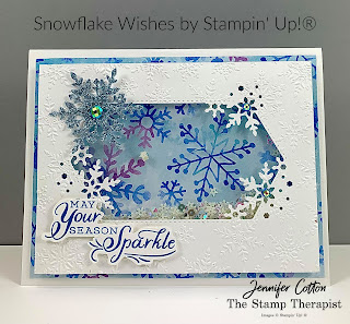 Shaker card with Stampin' Up!'s Snowflake Wishes Bundle!  Details on the video (link on blog)!  #StampTherapist #StampinUp