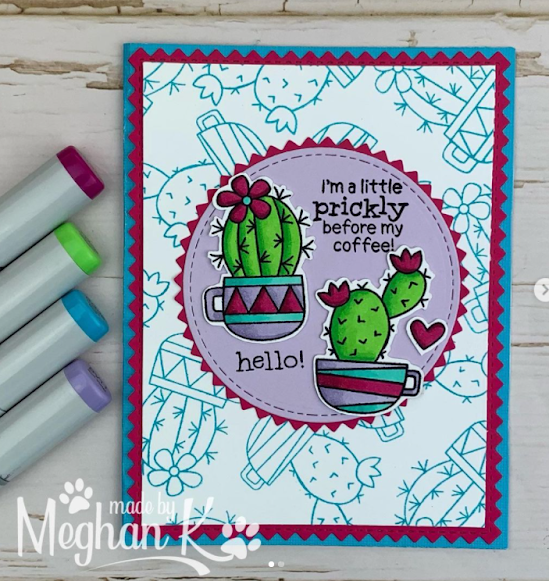 I'm a little prickly by Meghan features Cuppa Cactus by Newton's Nook Designs; #inkypaws, #newtonsnook, #cardmaking, #coffeecards, #coffee_crafts, #coffeelovingcardmakers