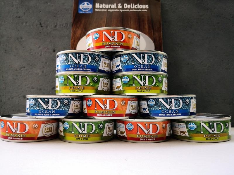 Test karmy mokrej N&D – trzy linie, Farmina, Natural&Delicious, N&D recenzja