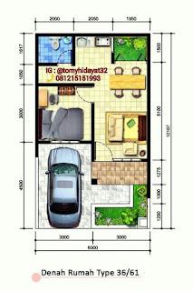 denah rumah minimalis 6x10 - desain rumah minimalis