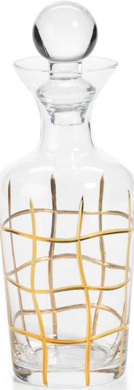 """Zodax Groove 10"""" Glass Decanter Gold Grid Pattern"""
