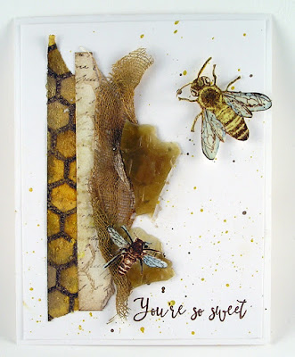 Darkroom Door Rubber Stamp Set Buzzing Bees Background Stamp HoneyComb