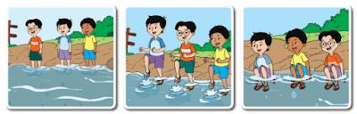 Udin, Beni, dan Edo bermain di pinggir sungai www.simplenews.me