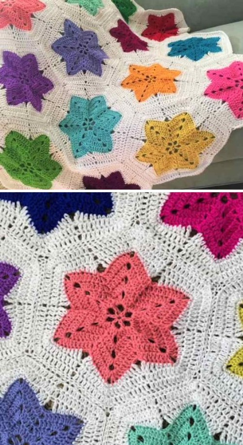 Hexagon Pieced Star Blanket - Free Pattern
