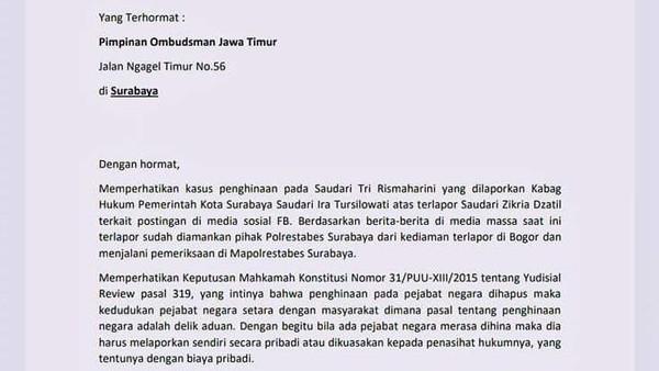 Surat ke Ombudsman Kasus Zikria Hina Risma Cacat Hukum, Ini Respons Polisi
