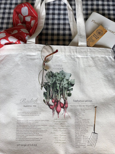 Cool canvas tote bag that coordinates well with radish red, black and green.