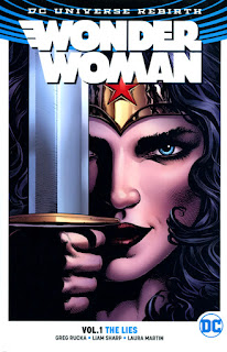 Review Wonder Woman Volume One The Lies Greg Rucka Liam Sharp Matthew Clark Princess Diana of Themyscira Steve Trevor Cheetah Barbara Ann Minerva DC Comics cover trade paperback tpb comic book