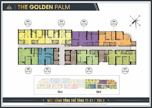 Mặt bằng tòa B chung cư The Golden Palm