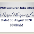 PPSC Lecturers Total Applications Submitted Status August 30, 2020 10:00AM