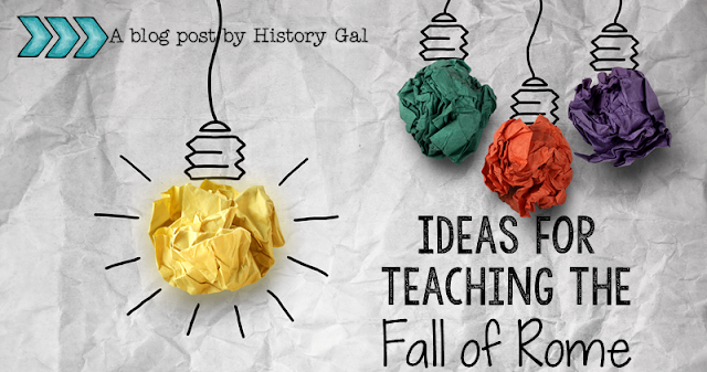 Light bulb illustration with text that reads Lesson Ideas for Teaching the Fall of Rome