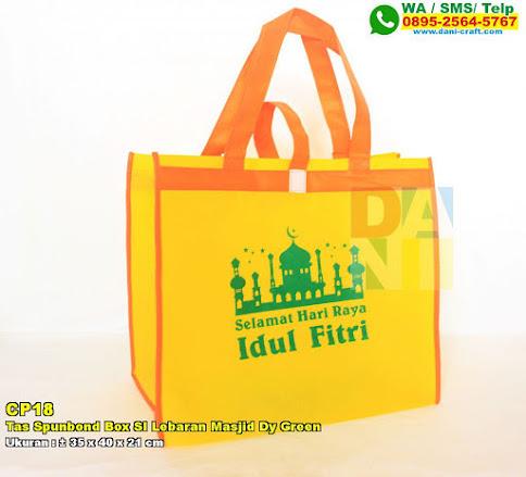 Tas Spunbond Box SI Lebaran Masjid Dy Green