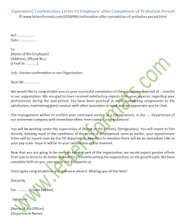 Confirmation Letter to Employee after Completion of Probation Period