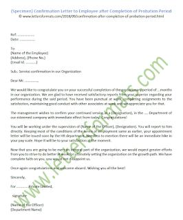 employment confirmation letter after probation