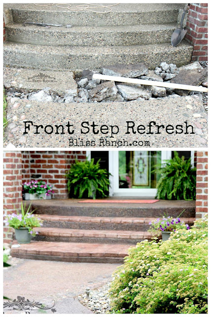 Conrete Stain Front Porch Step Walkway before after Bliss-Ranch.com