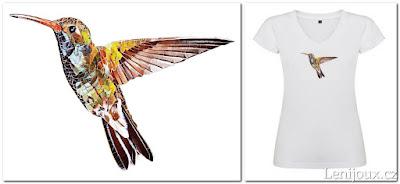 Kolibřík - dámské tričko s potiskem v geometrickém stylu