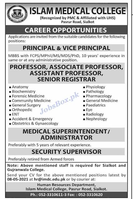 islamic-medical-college-sialkot-jobs-2021-for-teaching-non-teaching-staff