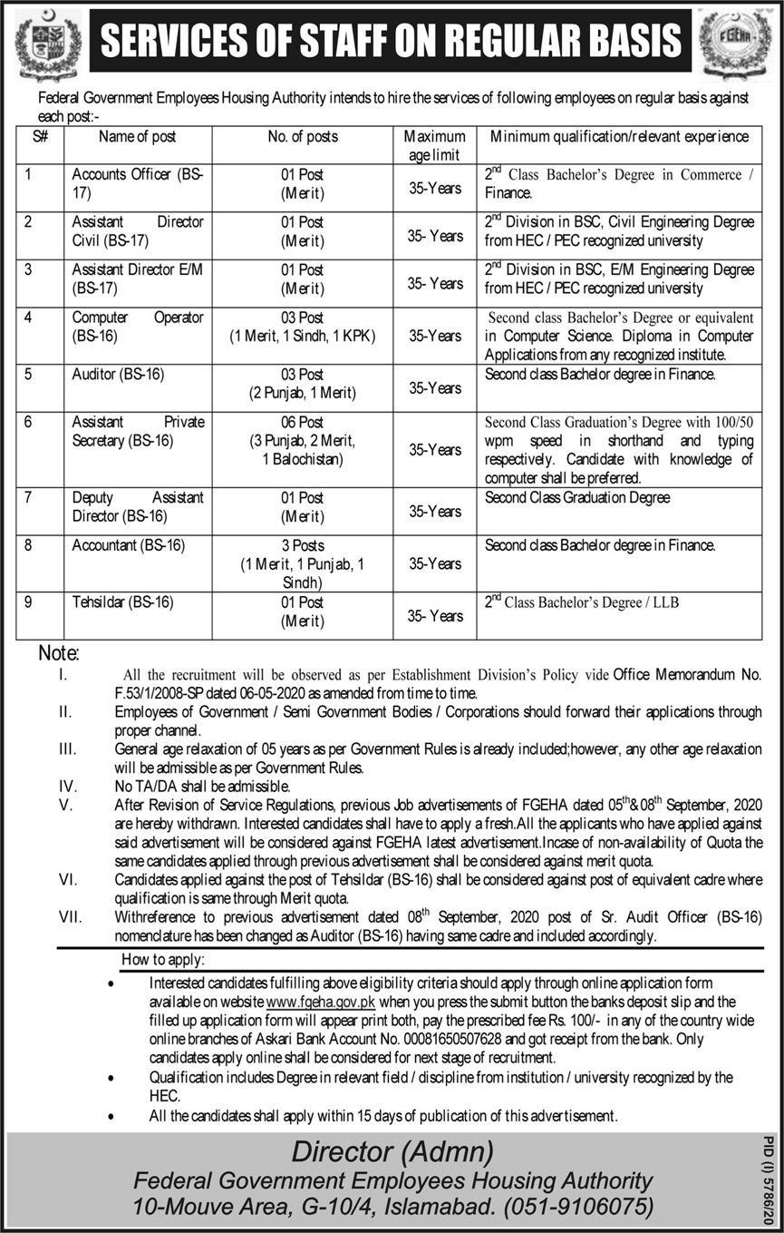 www.fgeha.gov.pk Jobs 2021 - FGEHA Federal Government Employees Housing Authority Jobs 2021 in Pakistan