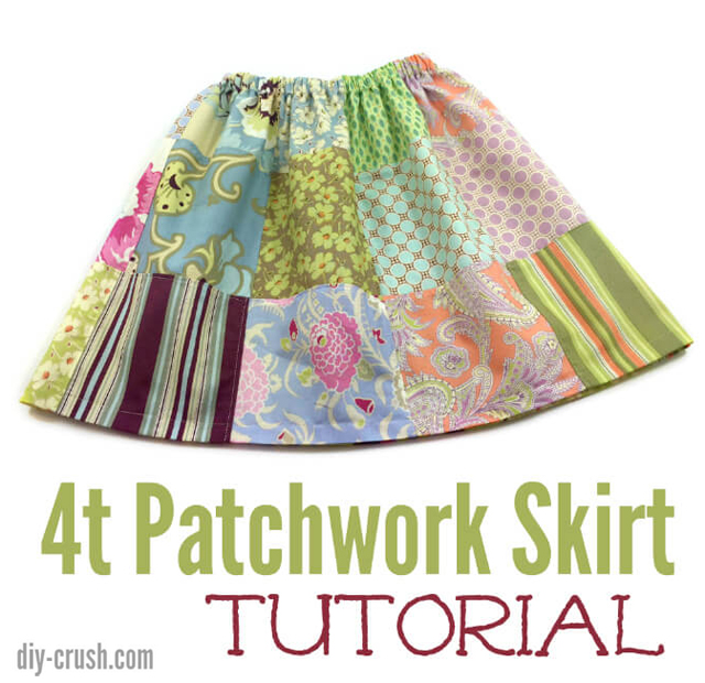 Learn how to make a gathered patchwork skirt for a young girl. Tutorial by DIY Crush.
