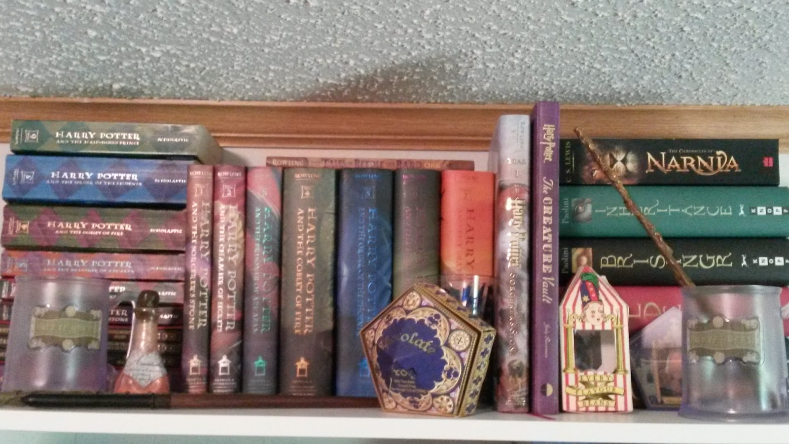 On The Top Shelf I Have Harry Potter Collection Also Some Other Big Fantasy Books That Wouldnt Fit Anywhere Else Sigh