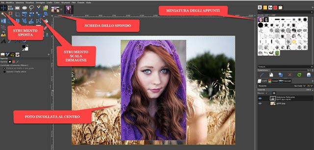 incollare foto su altra immagine con GIMP
