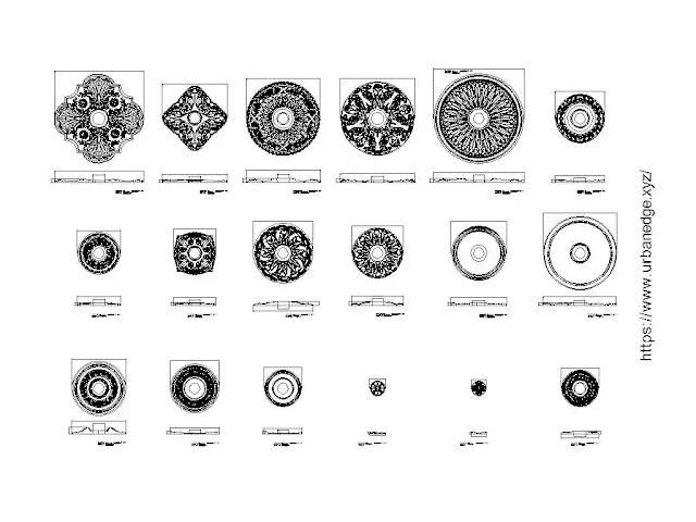 Rosettes and medallion ornaments free cad blocks download - 35+ CAD Blocks