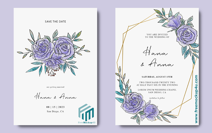 Invitation Card Template With Watercolor Purple Flower Decoration