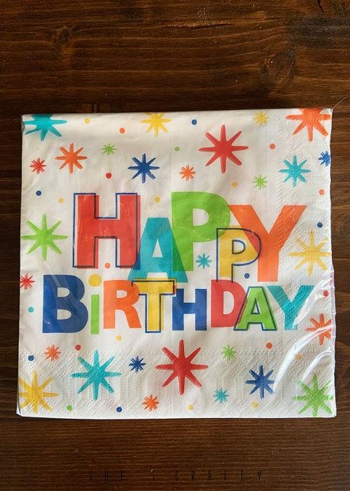 Birthday in a box - birthday napkins