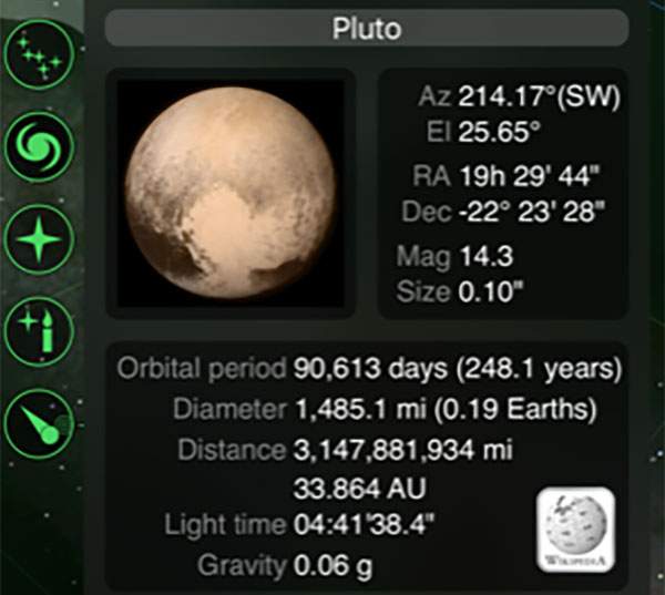 Using the Go Sky Watch app to find Pluto RA and Dec (Source: Palmia Observatory)