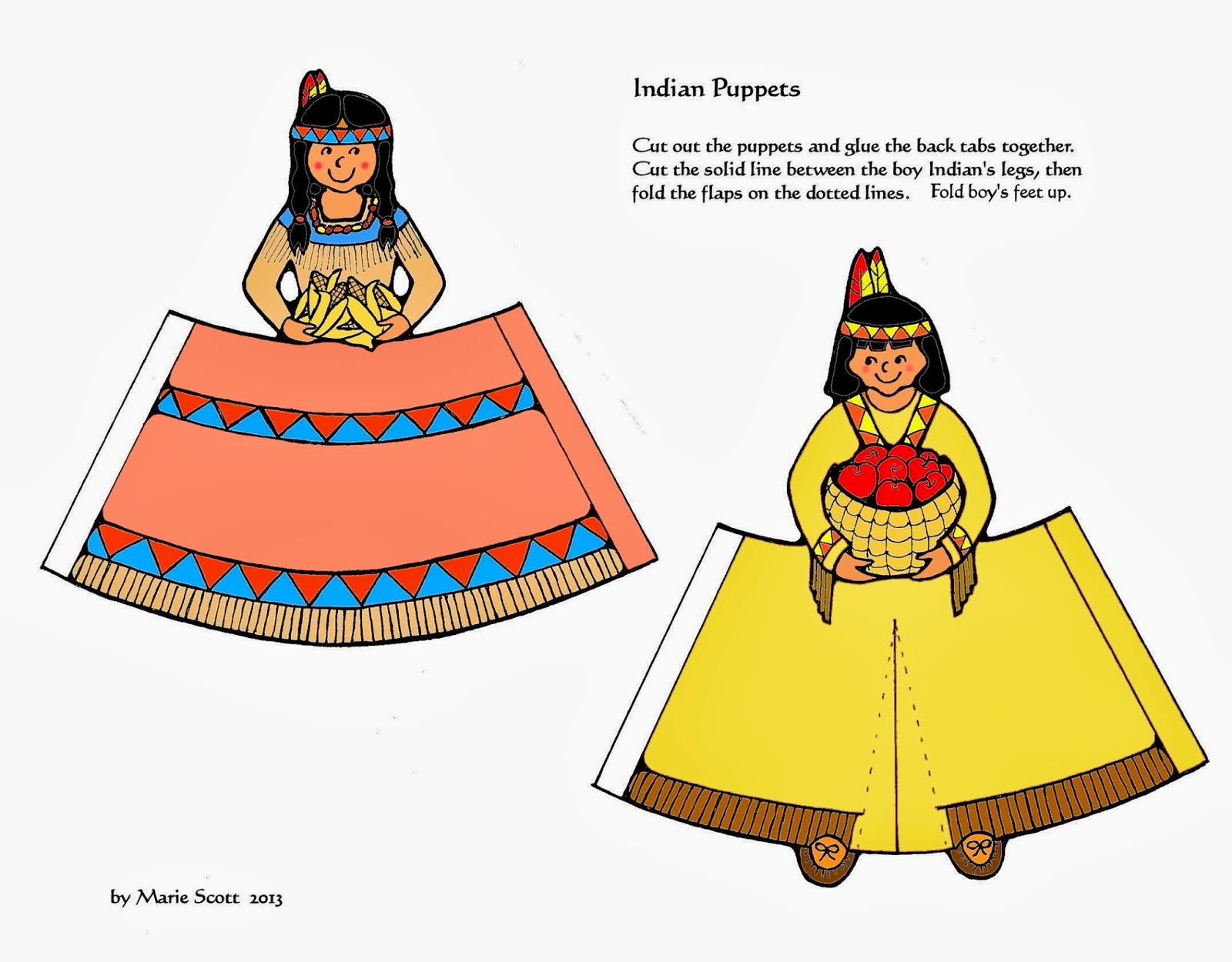Serendipity Hollow Pilgrim And Indian Paper Dolls