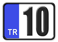 Balıkesir ilinin plakası olan 10 kodunu gösteren küçük plaka