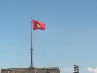 Vietnam Flag. Imperial City. Hue, Vietnam