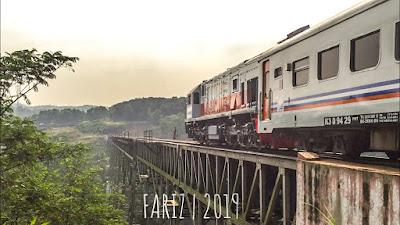 The Serayu Train Passing The Longest Cikubang Railway Bridge