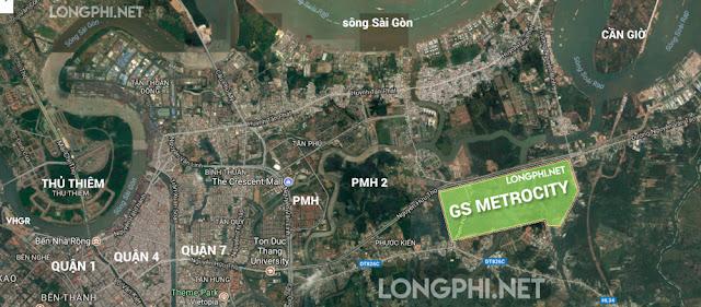 Bàn đồ vị trí dự án GS Metrocity tại nam sài gòn gần quận 7.