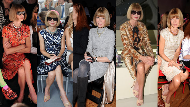 Anna Wintour in trademark dress and sunglasses at various fashion shows. Copyright: La Petite Anglaise