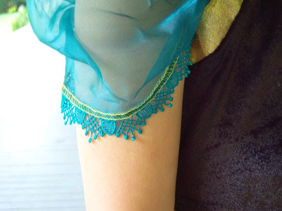 Disney Frozen Costume: Anna's Coronation Gown sleeve detail
