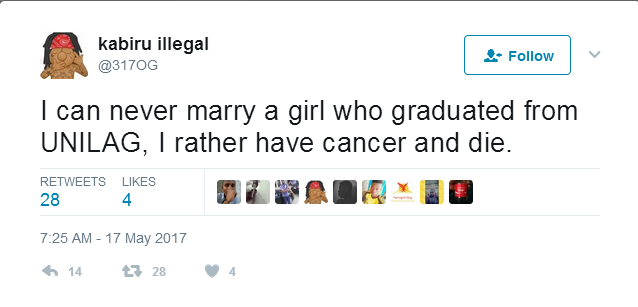 Man says he would rather die of cancer than marry a UNILAG graduate