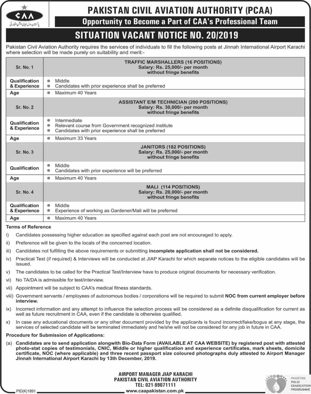 512+Vacancy in Jinnah International Airport Jobs 2019