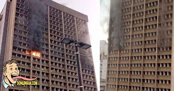 Incendio Voraz destruye la sede del Ministerio de Educación en Caracas
