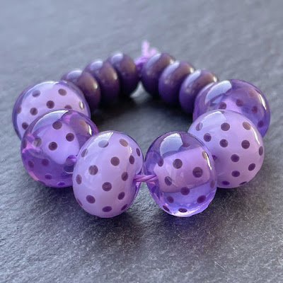 Handmade lampwork glass beads made with CiM Jacaranda