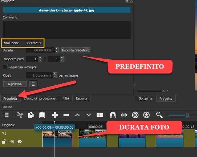 impostare la durata delle immagini nello schermo