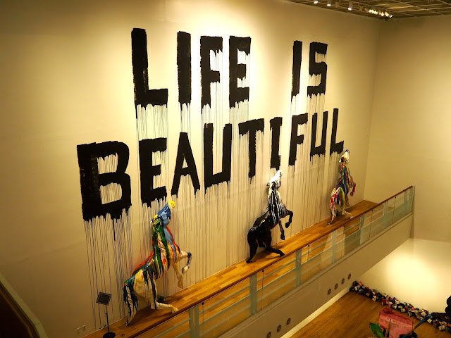 Life is beautiful - Mr Brainwash exhibit at ARA Modern Art Museum, Seoul, South Korea